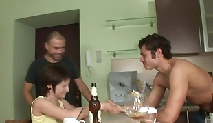 Sweet darling having sex for the first time with 2 boys