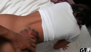 Pretty cutie sucks on dudes pecker for spunk flow
