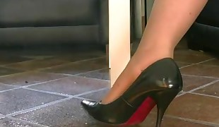 My nylated soles in my domineering pumps
