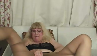 Unshaved grandmother in  on web cam