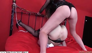 Femdom Strapon Jane fucks redhead slut in tight raw pussy