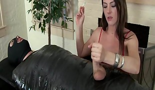 mean girl jacks off sub masculine white penis