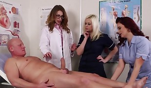 CFNM doctor babe trains nurses how to suck
