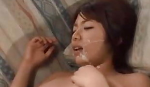 Japanese cute Wifey have fun 3P tear up with multiple studs !!
