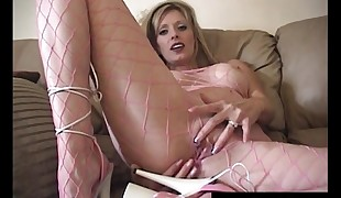 Warm Housewife Shanda Fay Fucks Dildo In Fishnet BodyStocking