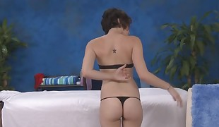 Hawt chick is driving teddy insane with a wild riding after massage